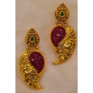 Ethnic Ruby Emerald Mango Pattern Dangler Earring