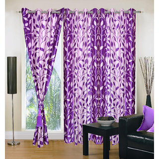 Akash Ganga Polyester Multicolor Eyelet Door Curtains (Set of 3) (7 Feet) CUR3-ST-131-7