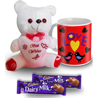 Love Birds Mug Teddy And Chocolate Valentine Gift Set
