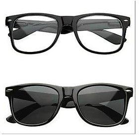 Fashno Combo Of Black Transparent Wayfarer Sunglasses