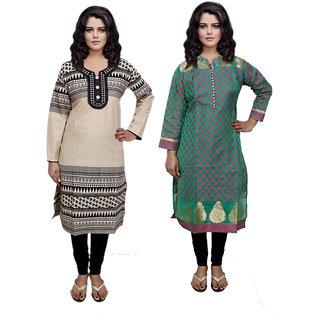 IndiWeaves Green Printed Cotton And Chanderi Stitched Kurti