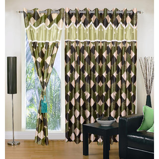 Akash Ganga Polyester Multicolor Eyelet Door Curtains (Set of 3) (7 Feet) CUR3-ST-134-7