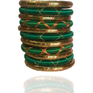 women Green Ribben Cross Bangle Set