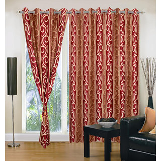 Akash Ganga Polyester Multicolor Eyelet Door Curtains (Set of 3) (7 Feet) CUR3-ST-137-7