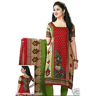 Cotton Red With Cream And Green Mix Suit Material (Unstitched)