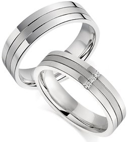 RM Jewellers CZ 92.5 Sterling Silver American Diamond Amazing Stylish Couple Band For Men and Women