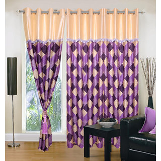 Akash Ganga Polyester Multicolor Eyelet Door Curtains (Set of 3) (7 Feet) CUR3-ST-142-7