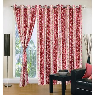 Akash Ganga Polyester Multicolor Eyelet Door Curtains (Set of 3) (7 Feet) CUR3-ST-144-7