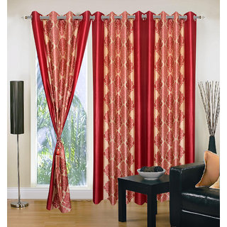 Akash Ganga Polyester Multicolor Eyelet Door Curtains (Set of 3) (7 Feet) CUR3-ST-145-7
