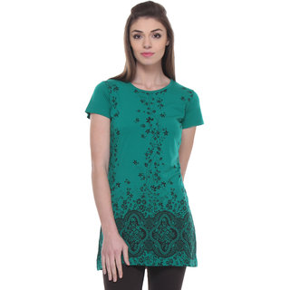 TAB91 Green Cotton Printed Tunic