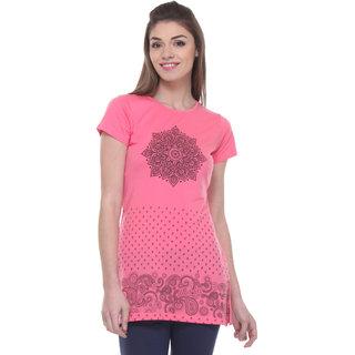 TAB91 Pink Cotton Printed Tunic