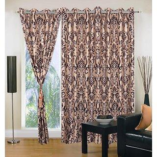 Akash Ganga Polyester Multicolor Eyelet Door Curtains (Set of 3) (7 Feet) CUR3-ST-147-7