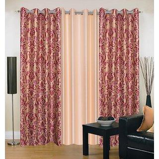 Akash Ganga Polyester Multicolor Eyelet Door Curtains (Set of 3) (7 Feet) CUR3-ST-149-7