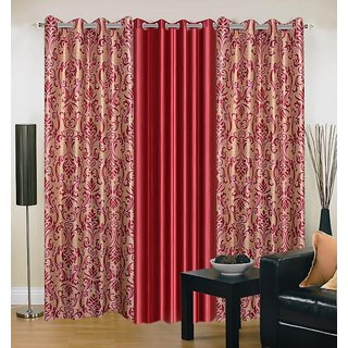 Akash Ganga Polyester Multicolor Eyelet Door Curtains (Set of 3) (7 Feet) CUR3-ST-150-7