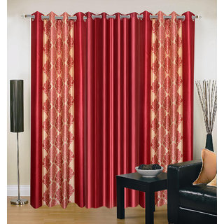 Akash Ganga Polyester Multicolor Eyelet Door Curtains (Set of 3) (7 Feet) CUR3-ST-151-7