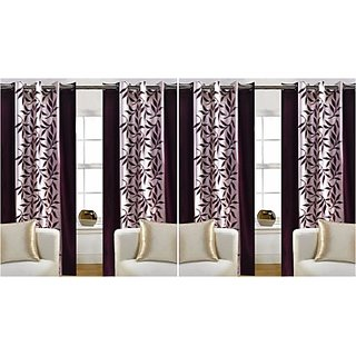luxeretail Polycotton Brown Printed Eyelet Window Curtain