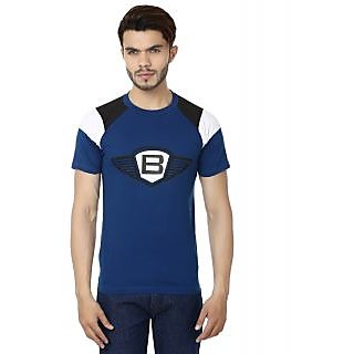 BABU Solid Men's Round Neck T-Shirt Blue
