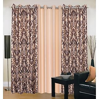 Akash Ganga Polyester Multicolor Eyelet Door Curtains (Set of 3) (7 Feet) CUR3-ST-152-7