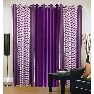 Akash Ganga Polyester Multicolor Eyelet Door Curtains (Set of 3) (7 Feet) CUR3-ST-154-7