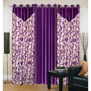 Akash Ganga Polyester Multicolor Eyelet Door Curtains (Set of 3) (7 Feet) CUR3-ST-156-7