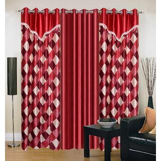 Akash Ganga Polyester Multicolor Eyelet Door Curtains (Set of 3) (7 Feet) CUR3-ST-157-7