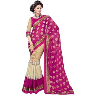 Womens Chiffon Jaquard Saree colour pink