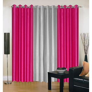 Akash Ganga Polyester Multicolor Eyelet Door Curtains (Set of 3) ( 7 Feet ) CUR3-ST-169-7