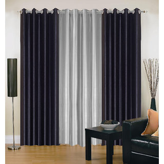 Akash Ganga Polyester Multicolor Eyelet Door Curtains (Set of 3) ( 7 Feet ) CUR3-ST-171-7