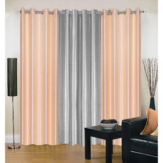 Akash Ganga Polyester Multicolor Eyelet Door Curtains (Set of 3) ( 7 Feet ) CUR3-ST-170-7