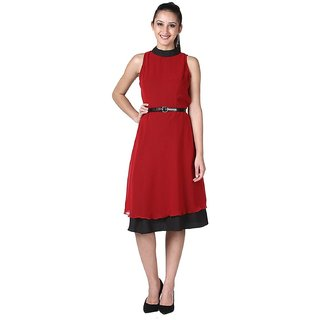 Womens Georgette Crepe Sleeveless Dress Red Colour