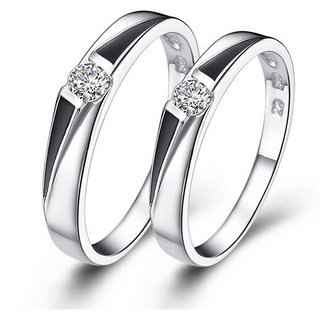 5b4a844164a3b RM Jewellers CZ 92.5 Sterling Silver American Diamond Stylish Promise  Couple Rings For Men and Women