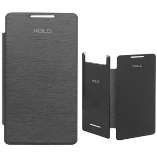 Black Leather Flip Book Cover Case For Lava Xolo A500s