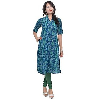 NAKSH JAIPUR Dark Blue A-line Kurta With Embroidery - Naksh Jaipur Kurtas Kurtis