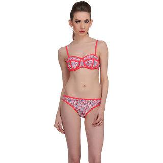 Clovia Red Polyamide Spandex Printed Swimsuit (SM0013P04)