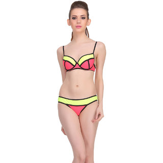 Clovia Red Polyamide Spandex Solid Swimsuit (SM0024P04)