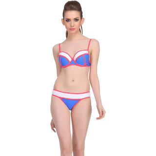 Clovia Blue Polyamide Spandex Solid Swimsuit (SM0024P08)