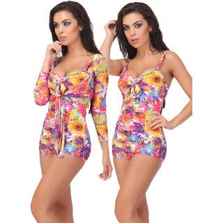 Clovia Purple Polyamide Spandex Printed Swimsuit (SM0035P16)