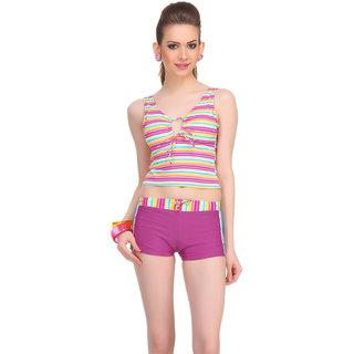 Clovia Purple Polyamide Spandex Striped Swimsuit (SM0036P12)