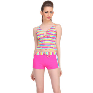 Clovia Pink Polyamide Spandex Striped Swimsuit (SM0036P14)