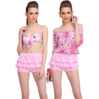Clovia Pink Polyamide Spandex Floral Swimsuit (SM0044P22)