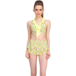 Clovia Green Polyamide Spandex Floral Swimsuit (SM0048P11)