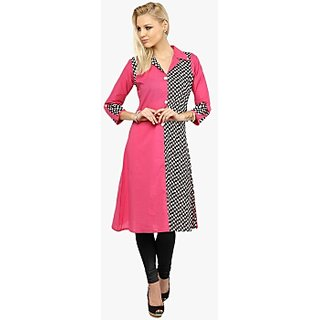 womans art pink check crepe kurti
