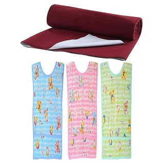CHHOTE JANAB BABY LARGE DRY SHEET WITH 3 PLASTIC BIBS
