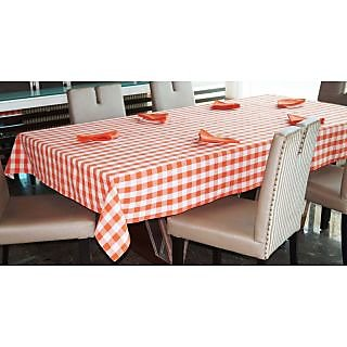 Lushomes Yarn Dyed Orange Checks 6 seater Table cloth  Napkins Set