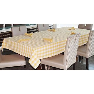 Lushomes Yarn Dyed Yellow Checks 6 seater Table cloth  Napkins Set