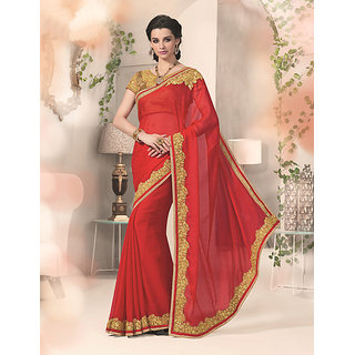 Kvsfab Beige & Red Georgette Lace Saree With Blouse