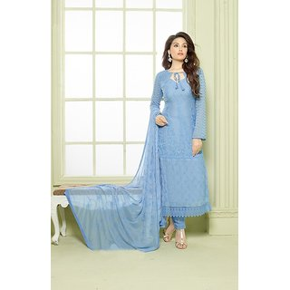 Fabliva LIGHT BLUE EMBROIDERED PURE CHIFFON STRAIGHT SUIT