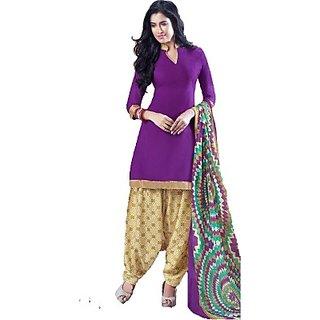 ThreeStarCollections  Cotton Printed Salwar Suit Dupatta Material(Un-stitched) (Pirple)
