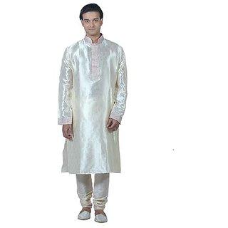 Good Looking Cream Art Silk Kurta Pyjama