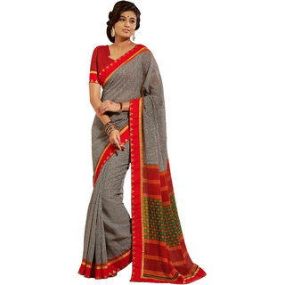 Khoobee Black & White Silk Printed Saree With Blouse